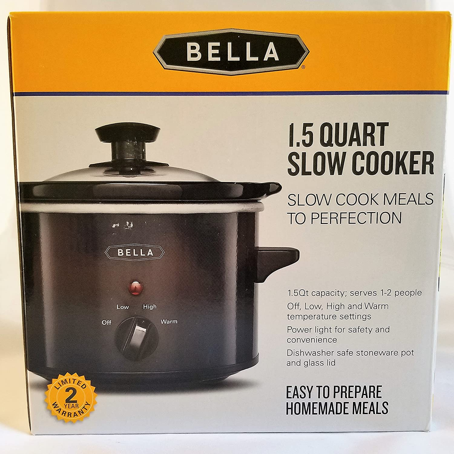 BELLA 1.5 Qt Quart Slow Cooker Crock w/Tempered Glass Lid