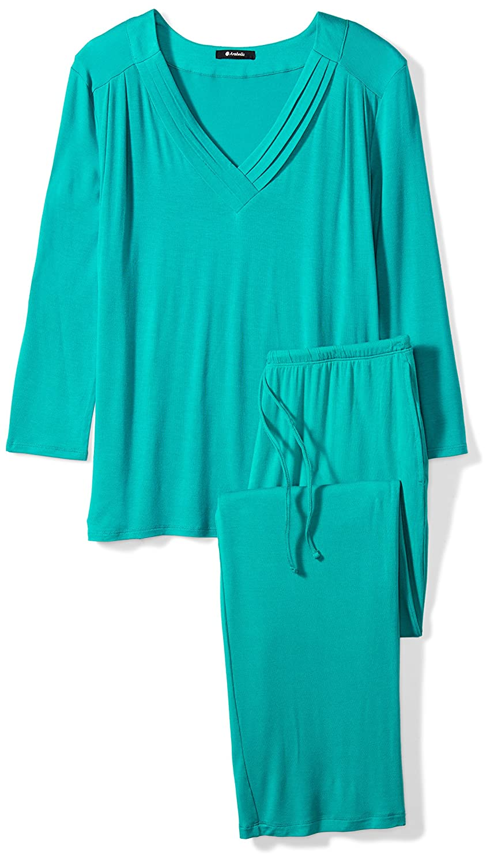 Arabella Womens Long Sleeve Pleated V-Neck Jersey Pajamas
