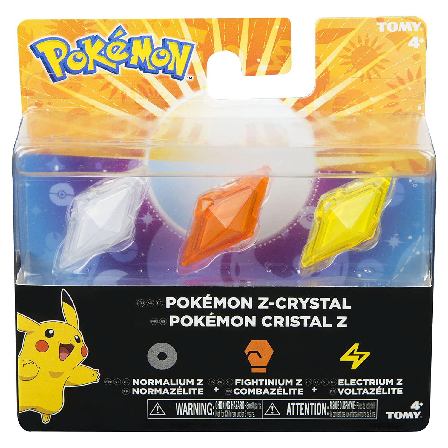 Pokémon–Pack of 3Crystals Z-Ring, Normal/Fighting/Electricity (Bizak 30699210)