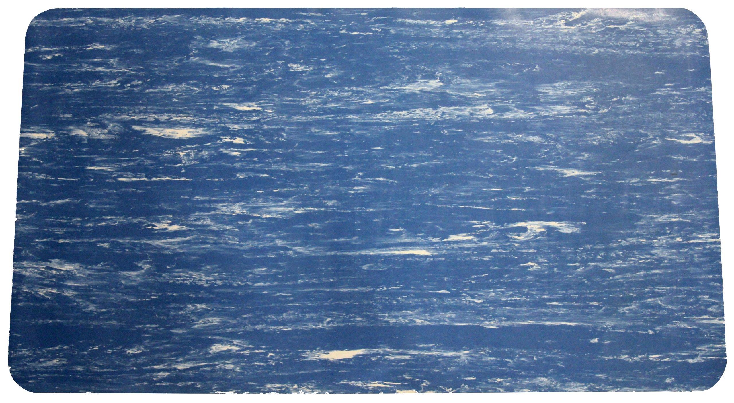 Durable Corporation Grand-Stand Vinyl Anti-Fatigue Mat, 36'' x 60'', Marble Blue
