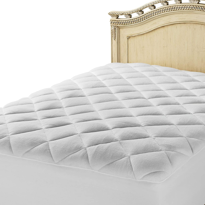 Mastertex Luxurious Mattress Pad Topper Fitted Down Alternative 100/% Cotton Top