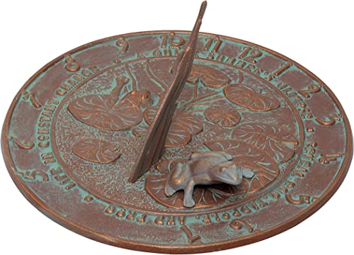 Whitehall Products Frog Sundial, Copper Verdi