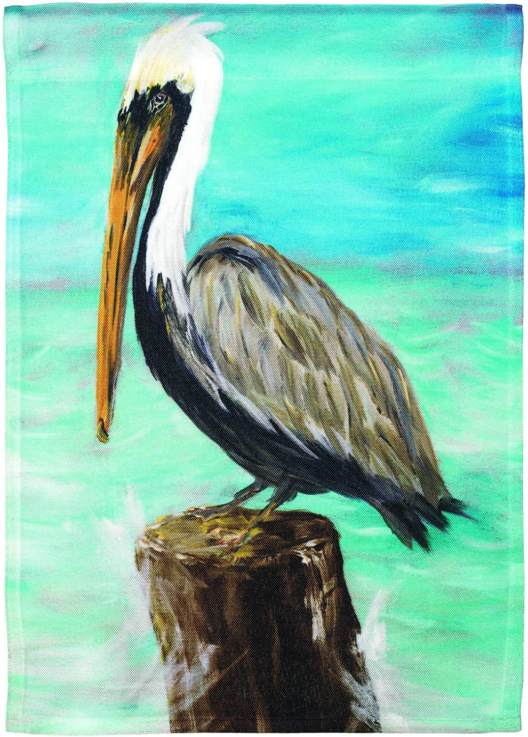 Dicksons Perched Grey Pelican 8 x 14 Large Polyester Outdoor Hanging Garden Flag