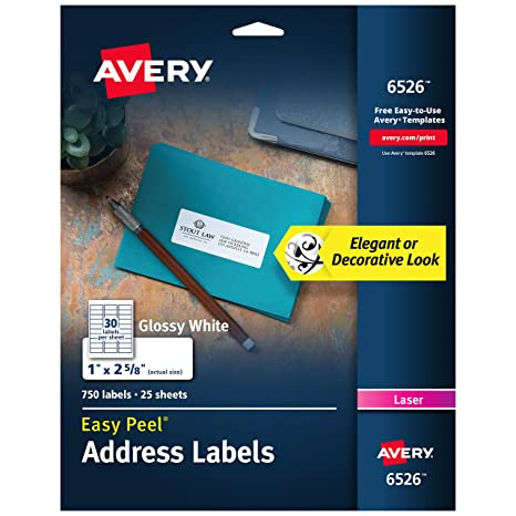 amazon com avery glossy white address labels for laser printers 1