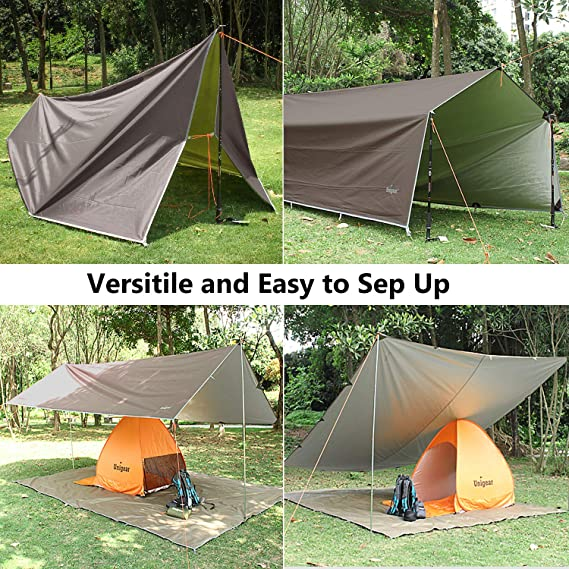 Beststar Portable Waterproof Camping Tarp UV Protection Lightweight Compact Tent Tarp Hammock Rain Fly for Outdoor Camping Hiking Backpacking Picnic Fishing # HWDX-08