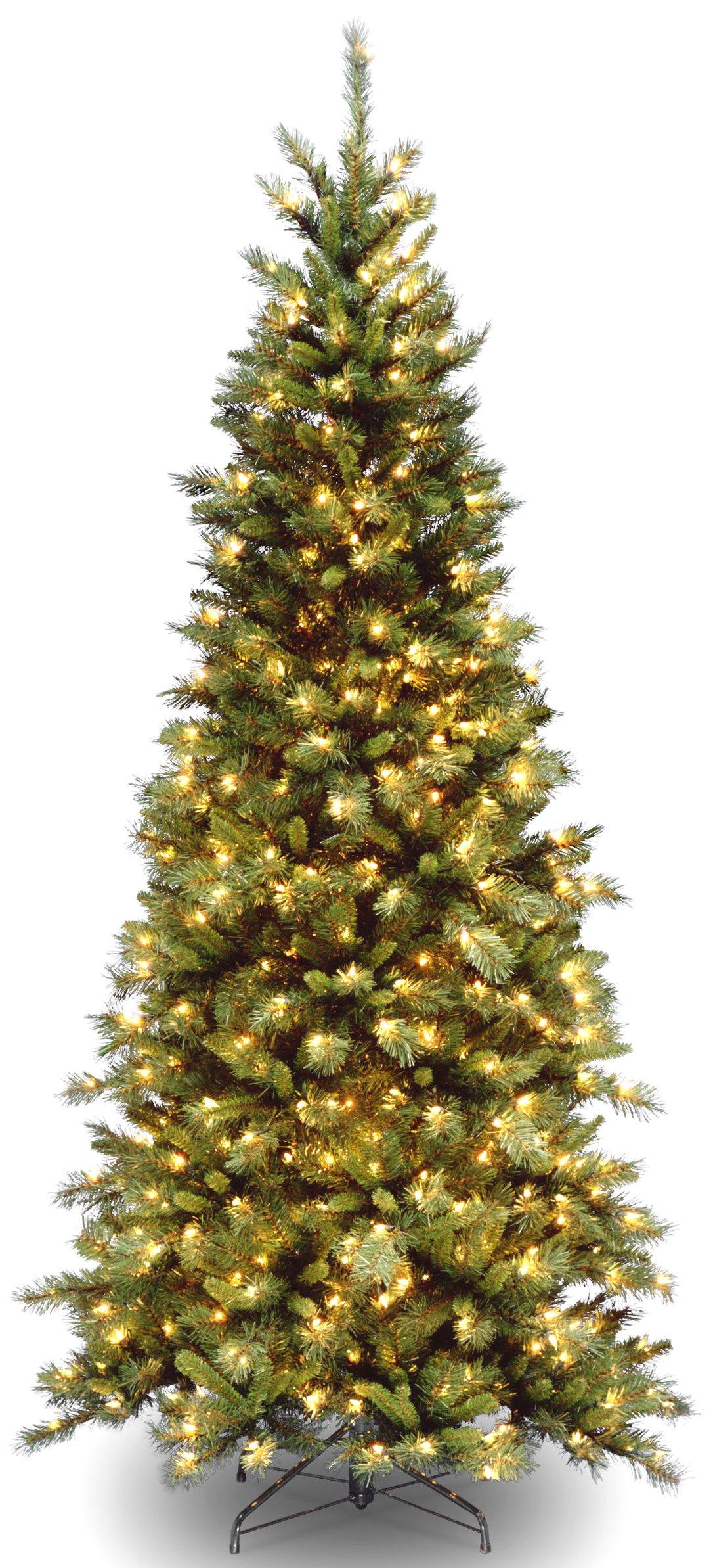 National Tree 7.5 Foot Tiffany Fir Slim Tree with 550 Clear Lights, Hinged (TFSLH-75LO-S3)