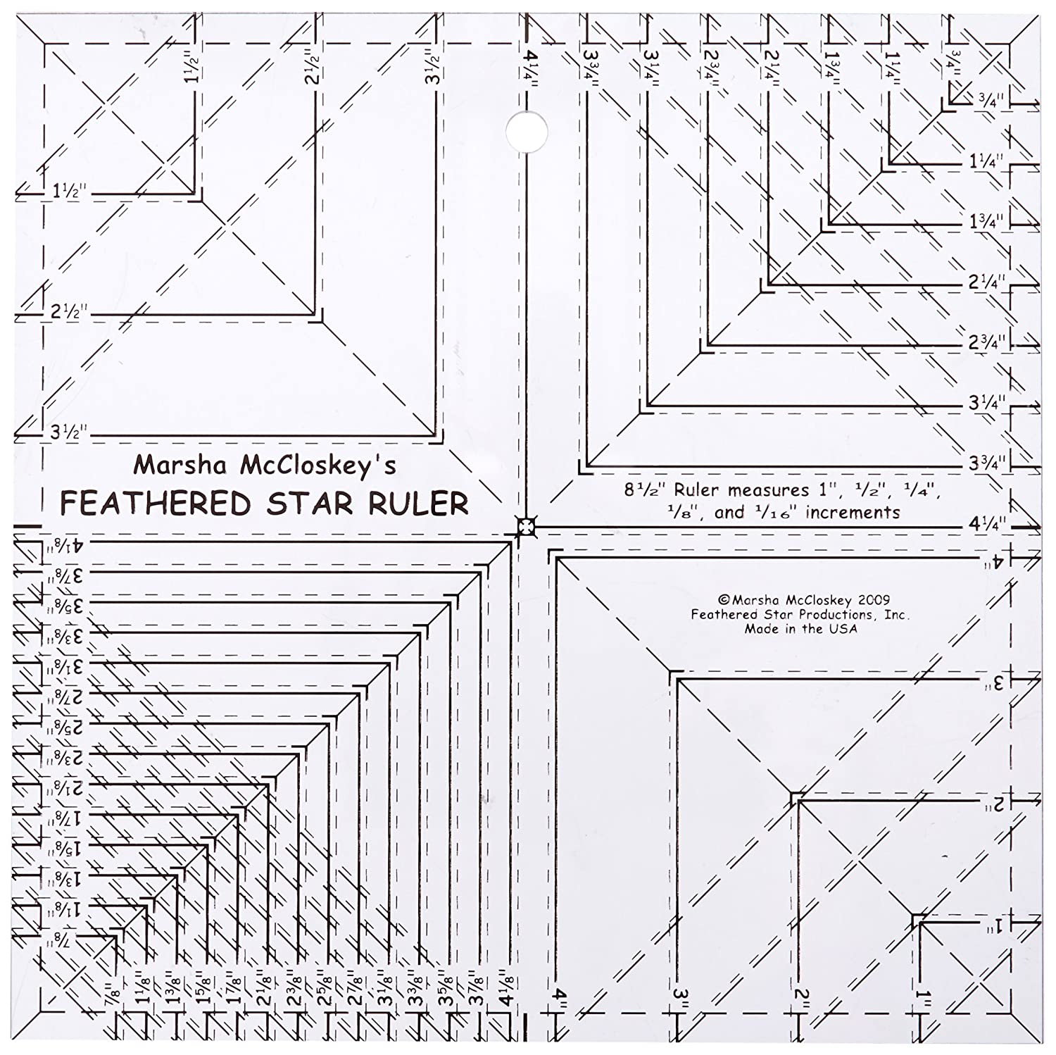 Feathered Star 8.5 Ruler with 8th & 16th Lines Feathered Star Productions FSPFSR8
