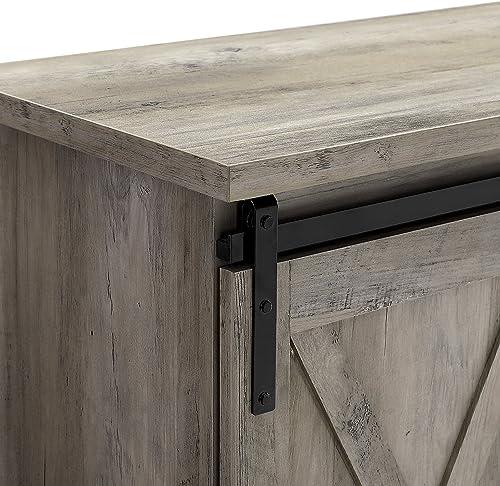 New 58 Inch Sliding Barn Door Television Stand – Grey Wash Finish