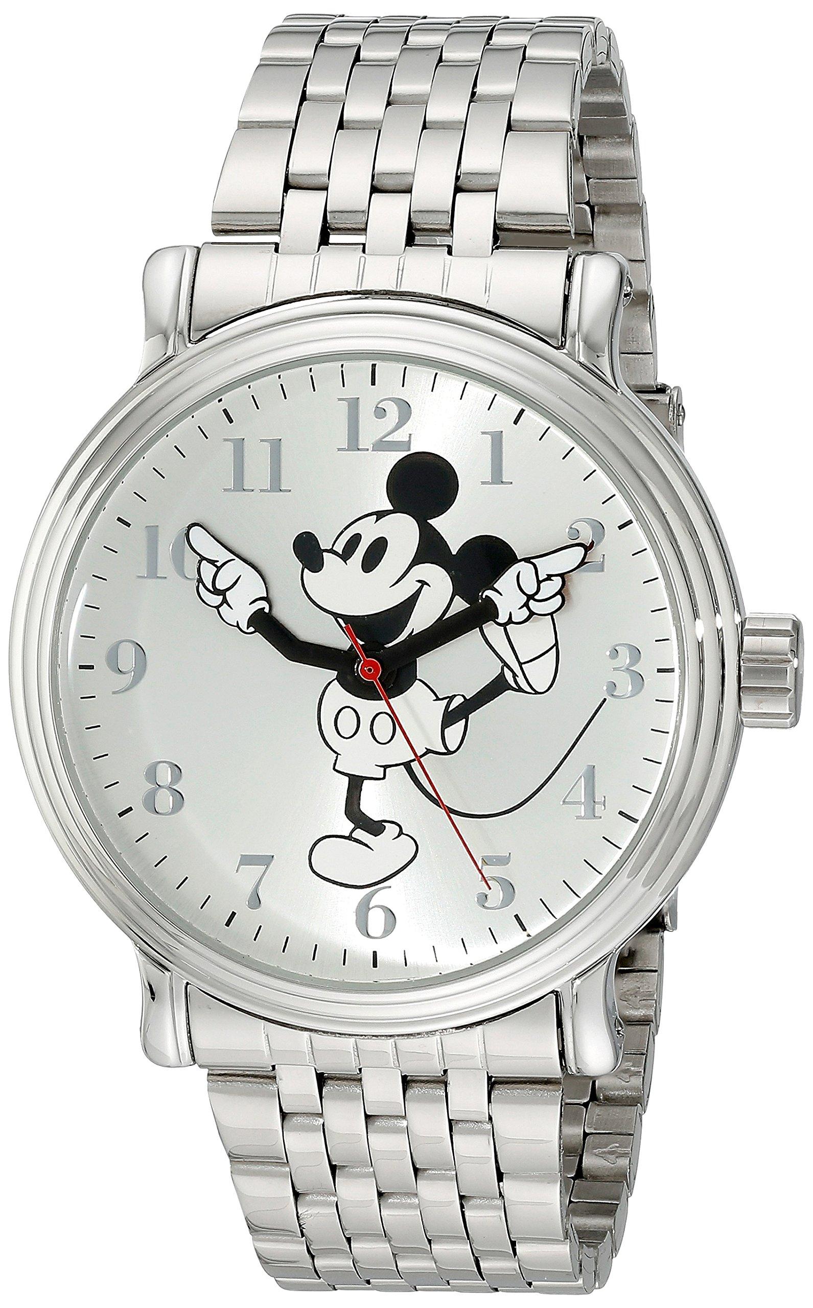 Disney Men's W001863 Mickey Mouse Analog Display Analog Quartz Silver/Black/White Watch