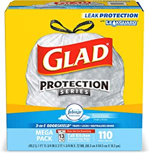 Glad Tall Kitchen Trash Bags, 13 Gal, 110 Ct