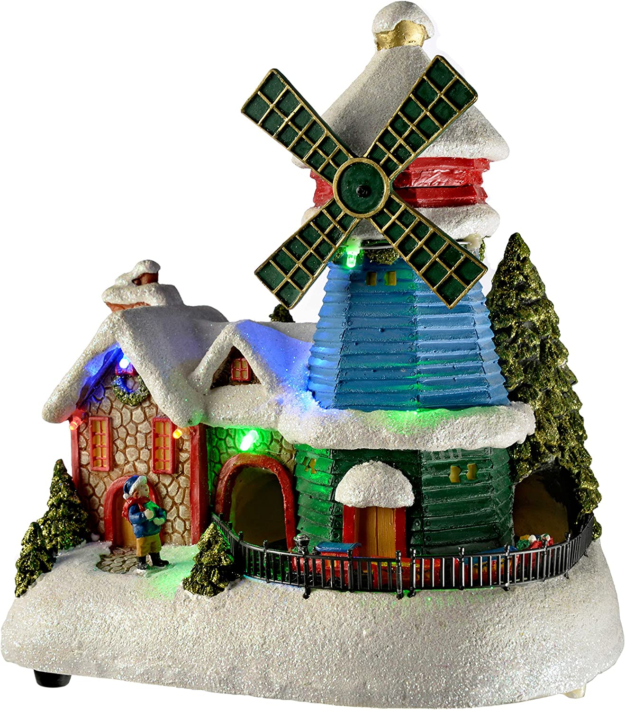 32/cm WeRChristmas LED-Weihnachtsbaum Szene mit fahrendem Zug Dekoration