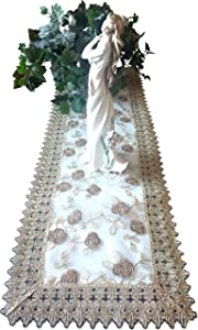 Galleria di Giovanni Dresser Scarf 54 Inch Metallic Gold Rose Lace Victorian Dresser ScarfTable Runner Doily