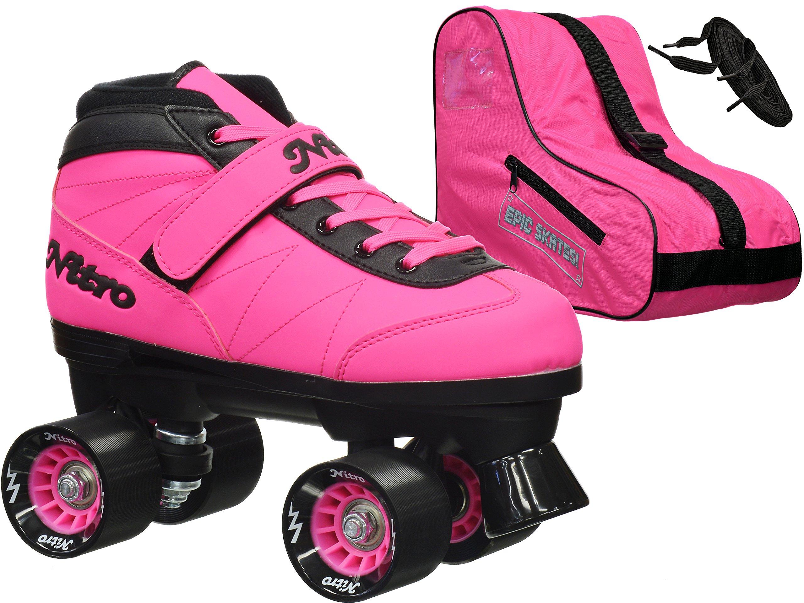 New! 2016 Epic Nitro Turbo Pink Indoor / Outdoor Quad Roller Speed Skates Bundle (Mens 6)