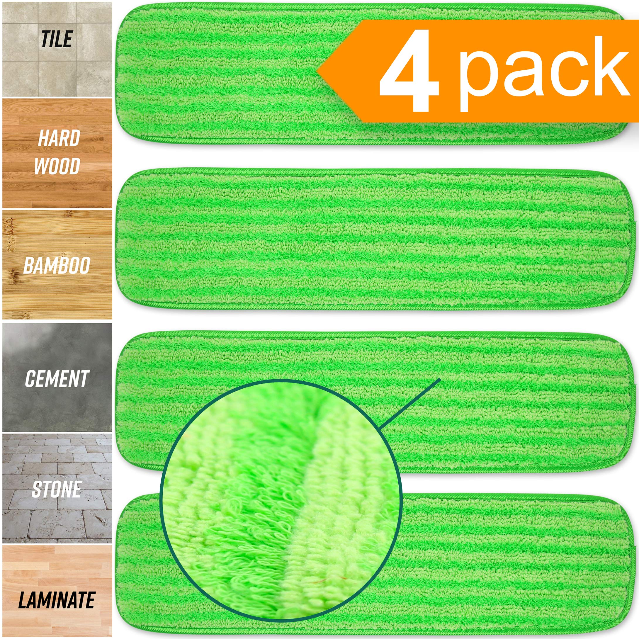 Microfiber Mop Pads 4 Pack - Reusable Washable Cloth Mop Head Replacements Best Thick Spray Wet Dust Dry Flat Velcro Attachment 18'' Inch - Cleaning Refill Fits Bona, Bruce, Rubbermaid, Libman + More by Turbo Microfiber