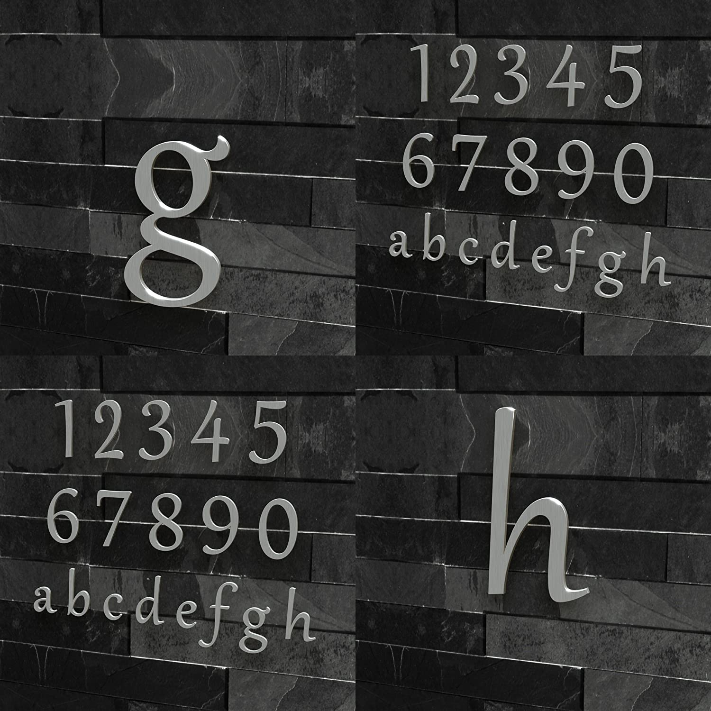 Colours-Manufaktur Hausnummer Klassisch 0-9 und a-h *Made IN Germany* viele Gr/ö/ßen w/ählbar 15 cm, Edelstahl geb/ürstet
