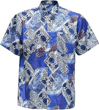 Thai Silk Camisa de hombre manga corta Vintage Pattern