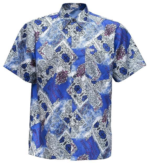 Thai Silk - Camisa casual - Paisley - con botones - para hombre Azul azul Small