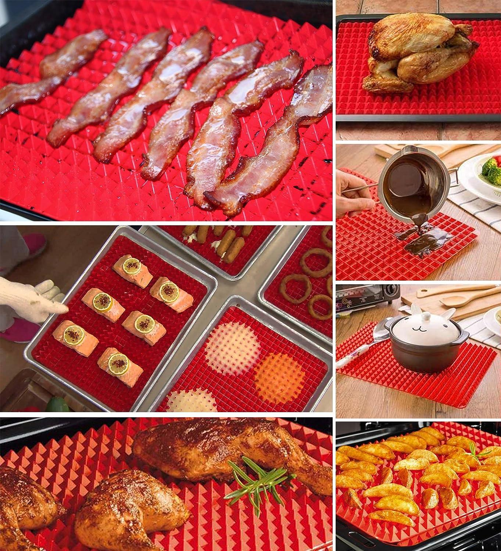 ubest alfombrilla de pir/ámide cacerola antiadherente molde de silicona hoja de cocina grasa reducir horno bandeja de hornear