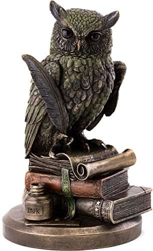 Top Collection Eagle Owl on Books Statue – Owl of Wisdom and Knowledge with Feather Pen and Ink Sculpture in Premium Cold Cast Bronze – 8.75-Inch Collectible Animal Figurine