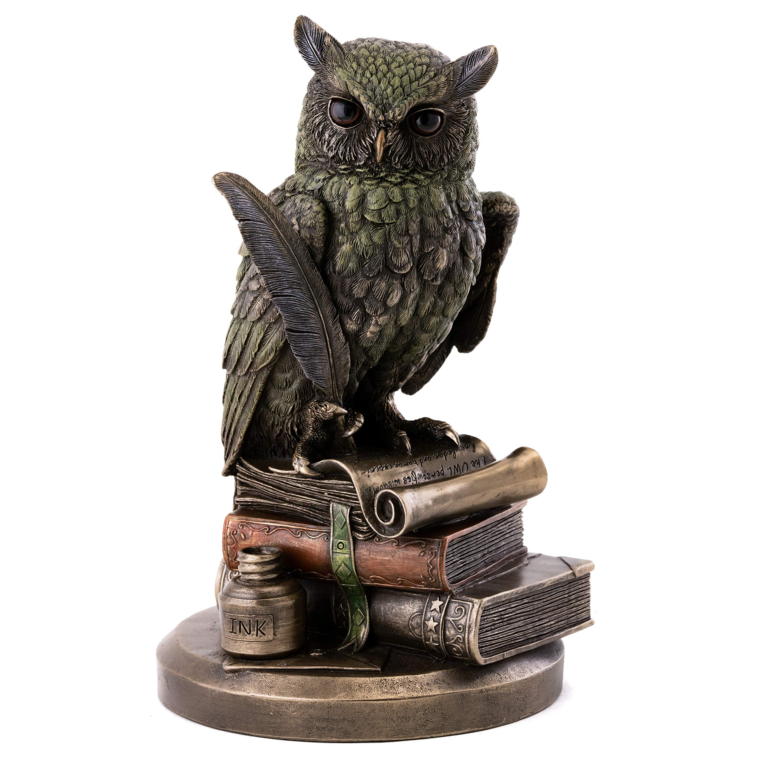 Top Collection Eagle Owl on Books Statue - Owl of Wisdom and Knowledge with Feather Pen and Ink Sculpture in Premium Cold Cast Bronze - 8.75-Inch Collectible Animal Figurine
