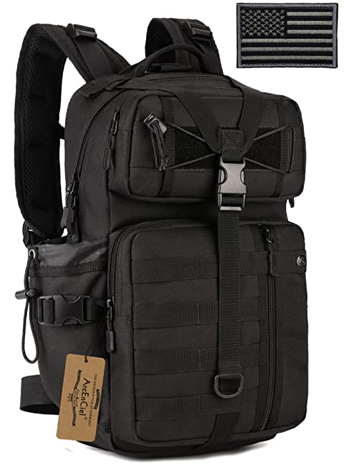 a5b5e102dd7 ArcEnCiel Tactical Outdoor Hydration Water Backpack Bag with Patch (Black)