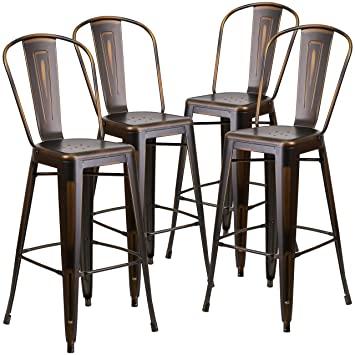 Flash Furniture 4 Pk. 30u0027u0027 High Distressed Copper Metal Indoor Outdoor  Barstool