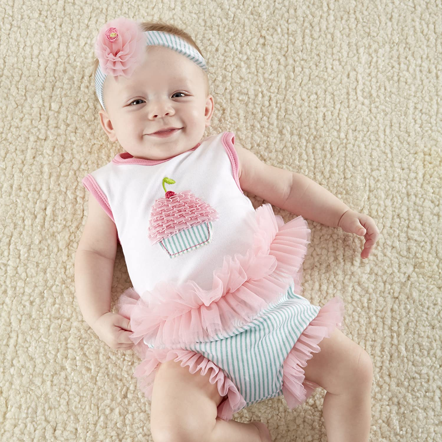 Baby Aspen, Baby Cakes 2-Piece Cupcake Outfit, 0-6 Months White, sleeveless tunic with pink-and-white trim at the neck and shoulders Tunic and printed bloomer are cotton interlock with tulle and ruffled chiffon detail Presentation includes bakery store-front display gift box