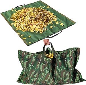 Leaf Bag Garden Lawn Yard Waste Tarp Container Gardening Tote Trash Reusable Heavy Duty Canvas Fabric (Tarp Camo)