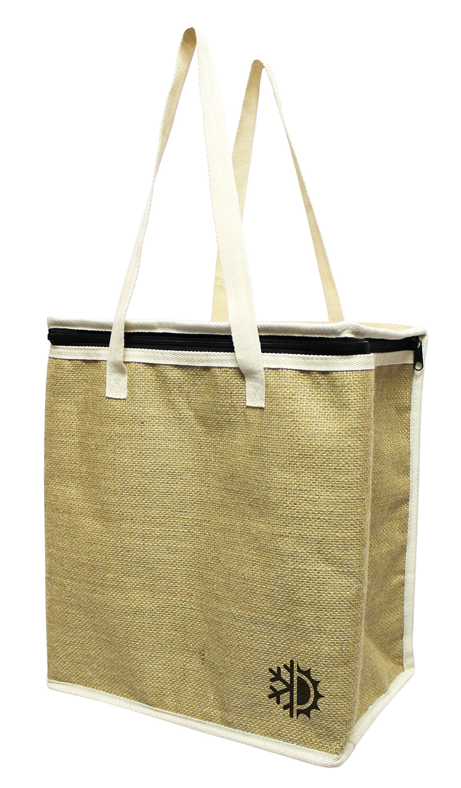Earthwise Large Jute Insulated Shopping Grocery Bags w ZIPPER TOP LID Thermal Cooler Tote KEEPS FOOD HOT OR COLD (Set of 2) by Earthwise (Image #3)