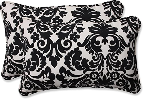 Pillow Perfect Outdoor Indoor Essence Onyx Lumbar Pillows, 11.5 x 18.5 , Black, 2 Pack