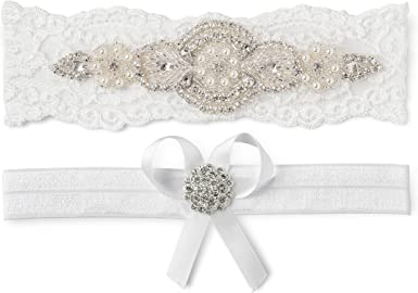 Wedding Garter Set Ivory Bridal Garter Crystal Garter NO SLIP Lace Wedding Garter Bridal Garter set Wedding Garter WS85405
