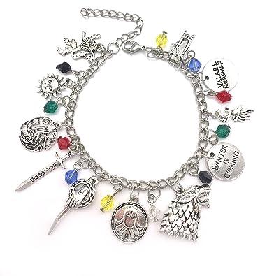 Game of Thrones Charm Bracelet - GOT Jewellery - Stark, Lannister, Targaryen Charms - In Gift Box