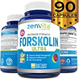 Pure Forskolin Extract 600 mg w/ 40% Standardized Forskolin, 90 Capsules, Non-GMO & Gluten Free, Appetite Suppressant, MAX Strength Belly Fat Burner, Carb Blocker, Natural Weight Loss Supplement