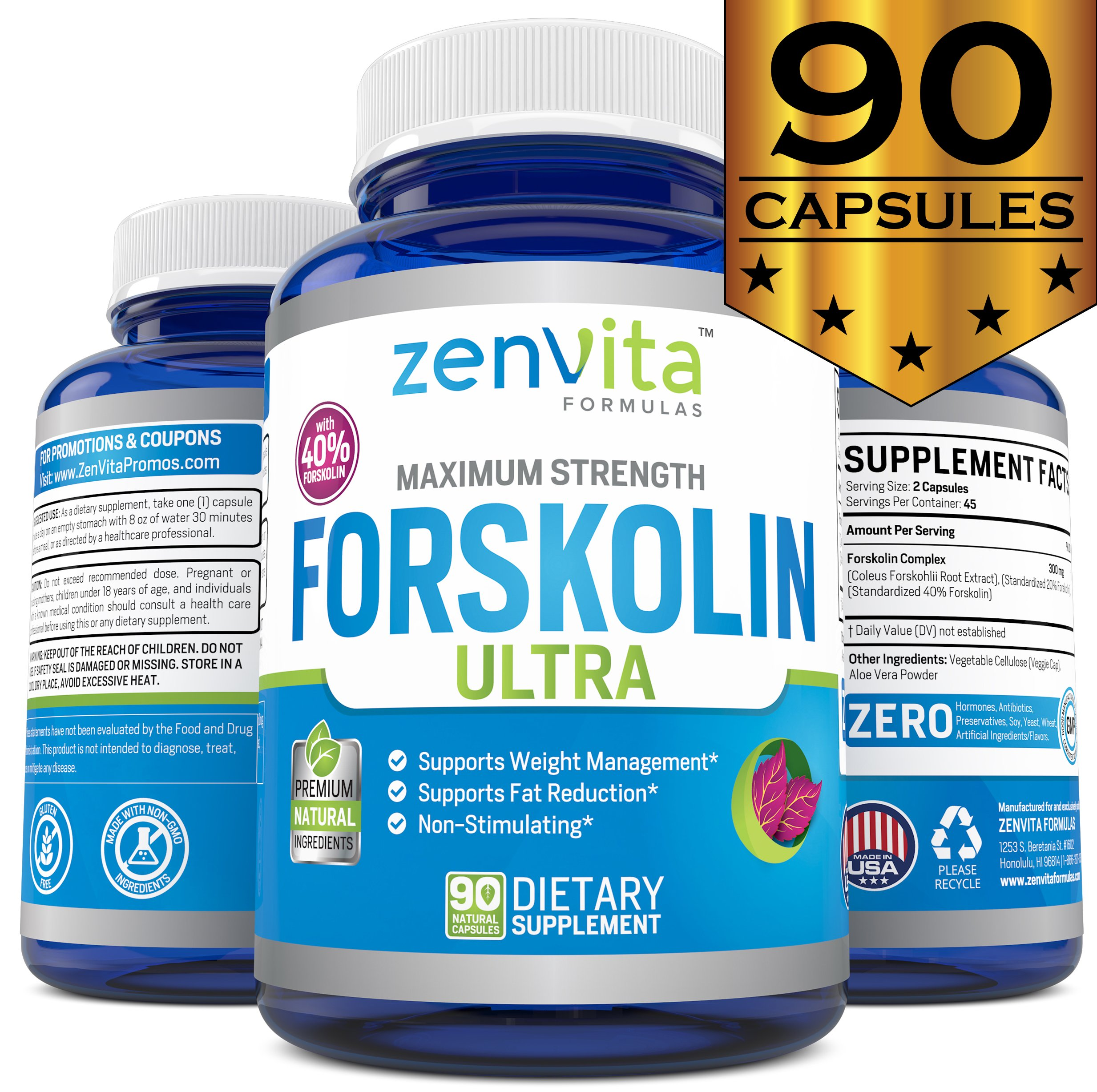 Pure Forskolin Extract 600mg - 90 Capsules w/40% Standardized Forskolin, Non-GMO & Gluten Free, Appetite Suppressant, MAX Strength Belly Fat Burner, Carb Blocker, Weight Loss Supplement by ZenVita Formulas