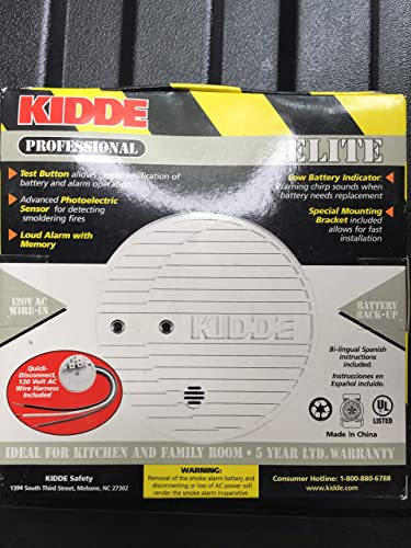 Kidde PE120 Hardwire with Battery Backup Photoelectric Sensor Smoke Alarm
