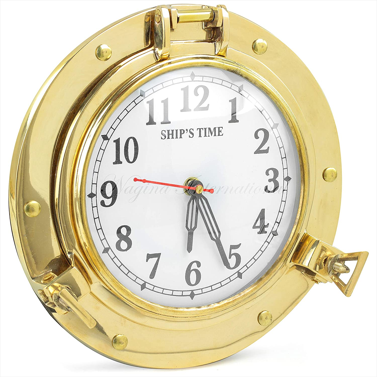 Amazon Com Nautical Porthole Clock Solid Antique Brass Ships 9 Inch Maritime Clocks Home Kitchen