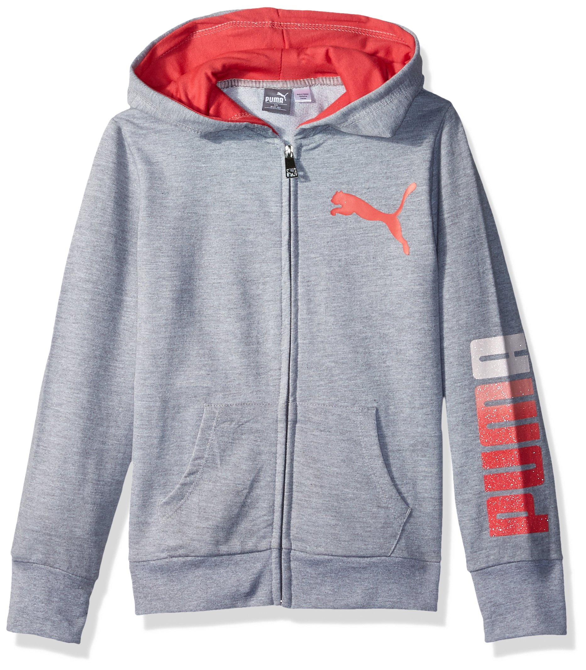 PUMA Big Girls' Full Zip Hoodie, Light Heather Grey, Small (7)