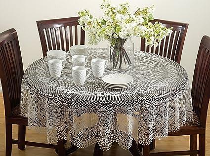 Ordinaire Classic Crochet Vinyl Tablecloth, 2 Colors, 72 Inch Round (Beige)