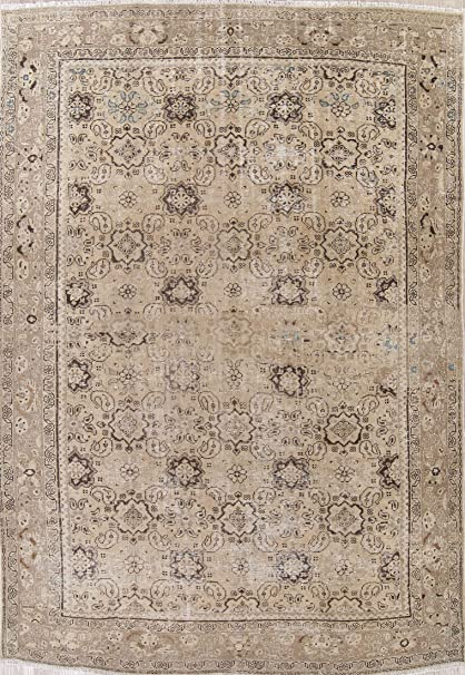 97474c8e54 Amazon.com: Rug Source Hand Knotted Mahal Persian Wool Traditional Vintage  Oriental Distressed Area Rug 9x12 Beige (12' 4