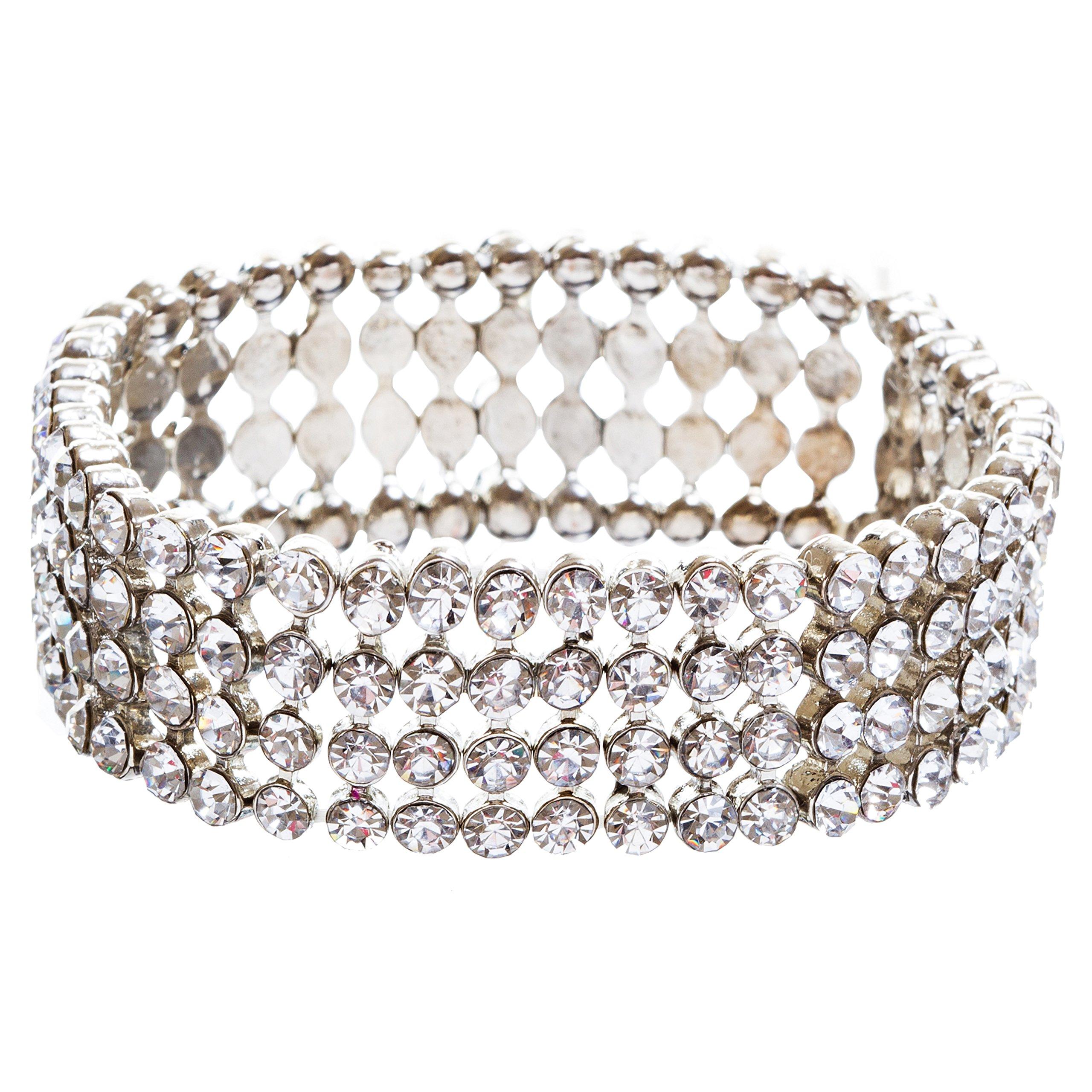 ACCESSORIESFOREVER Bridal Wedding Jewelry Crystal Rhinestone Beautiful Wrap Around Bracelet B263 Silver