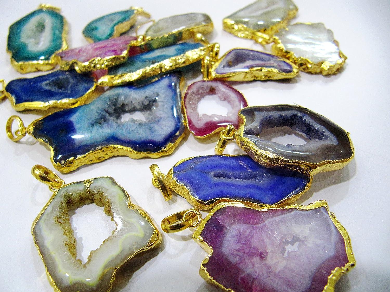 Wholesale Geode Agate Quartz Druzy Slice Gold Plated Pendant Raw Gold Titanium Coated Quartz Slab Findings GC18101606