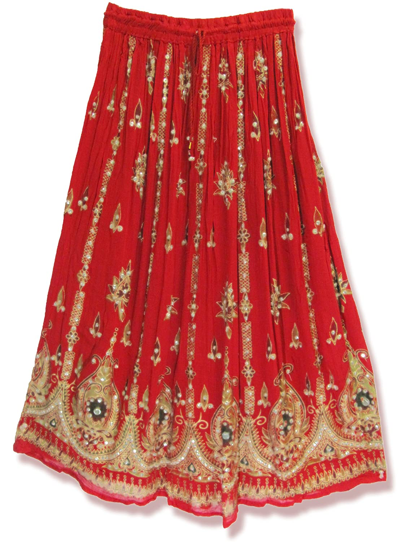 Yoga Trendz Womens Sequined Crinkle Broomstick Gypsy Long Skirt - White -: Amazon.co.uk: Books