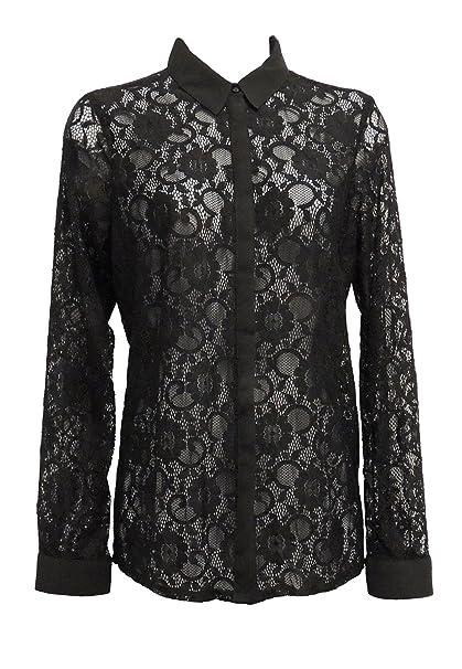 Nuevo Mujer en Negro Estilo Vintage Transparente Lace-Look Camisa Blusa GB 8-20