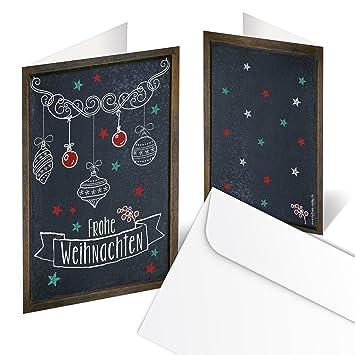 10 Stück Gleiche Weihnachtskarten Frohe Weihnachten Schwarz Weiß Rot