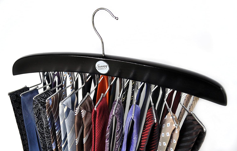 Schals T/ücher f/ür 24 Krawatten G/ürtel SUNNY SUNDAY Krawattenhalter Natur Ketten Kleiderschrank Organizer