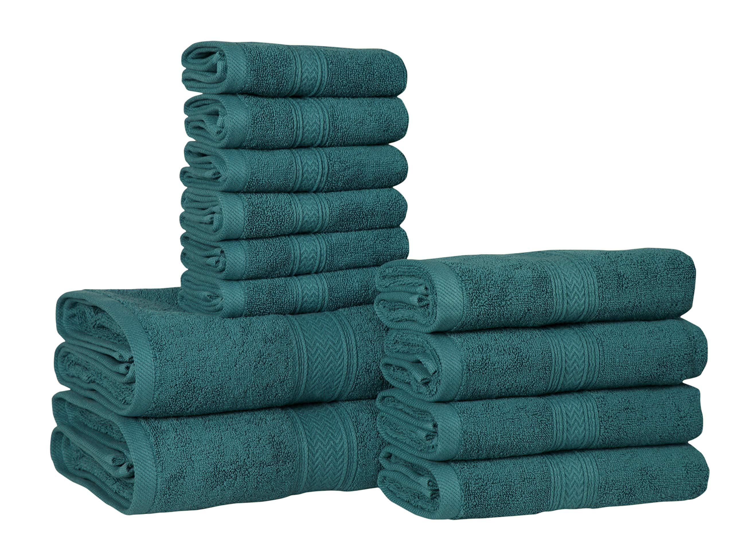 HILLFAIR 12 Piece- 600 GSM Cotton Bath Towels Set - Hotel Spa Towels Set- 2 Bath Towels, 4 Hand Towels, 6 Washcloths- Absorbent Super Soft Cotton Towels Set- Teal Towel Set- 100% Cotton Towel Set