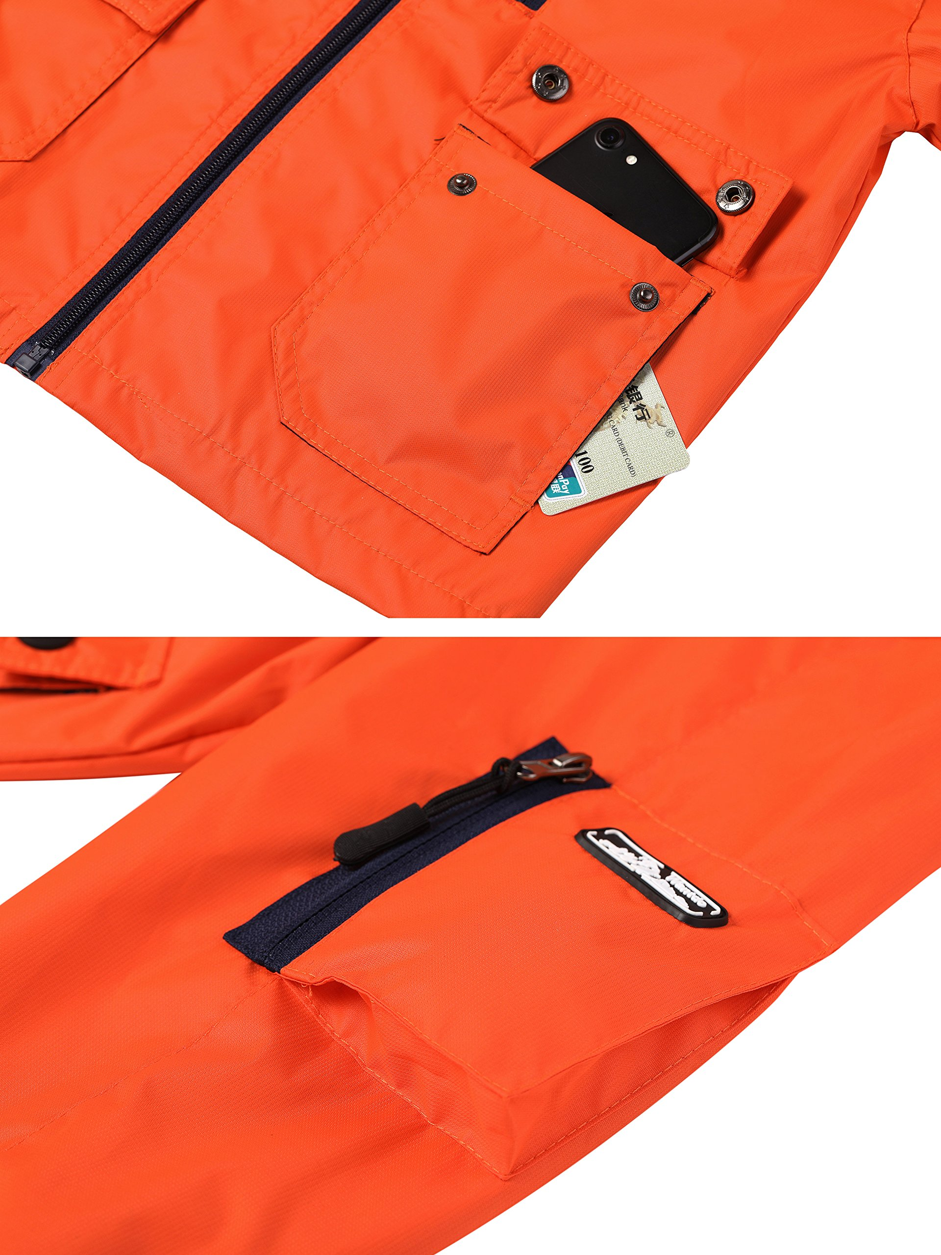 Wantdo Boy's Ultra Light Packable Travel Jacket Outdoor Windcheater Zipped Hoodies for Traveling(Lily Orange Yellow, 14/16) by Wantdo (Image #5)