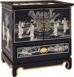 Oriental Furniture Empress Lacquer Jewel Box (Black)