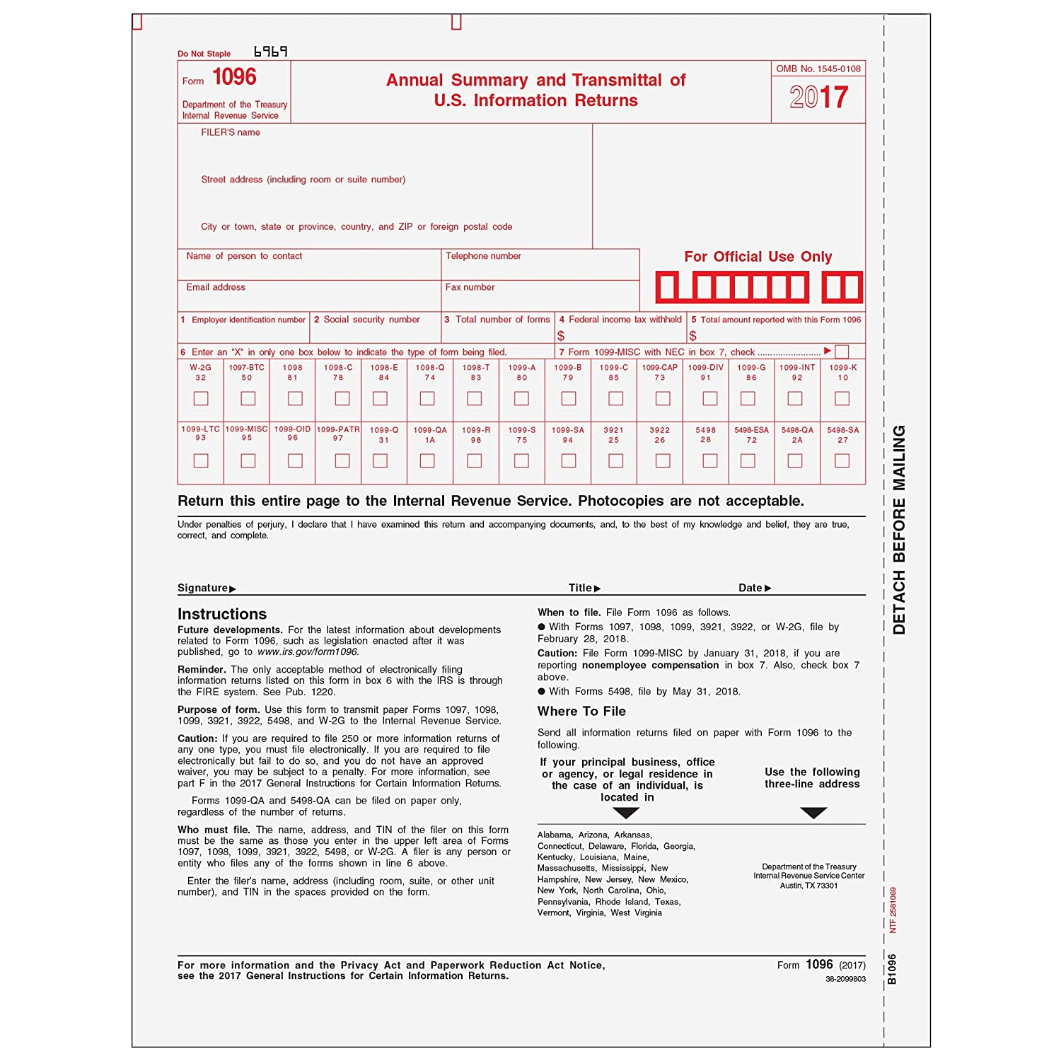 Amazon 1096 Transmittal Form 25 Pack Office Products