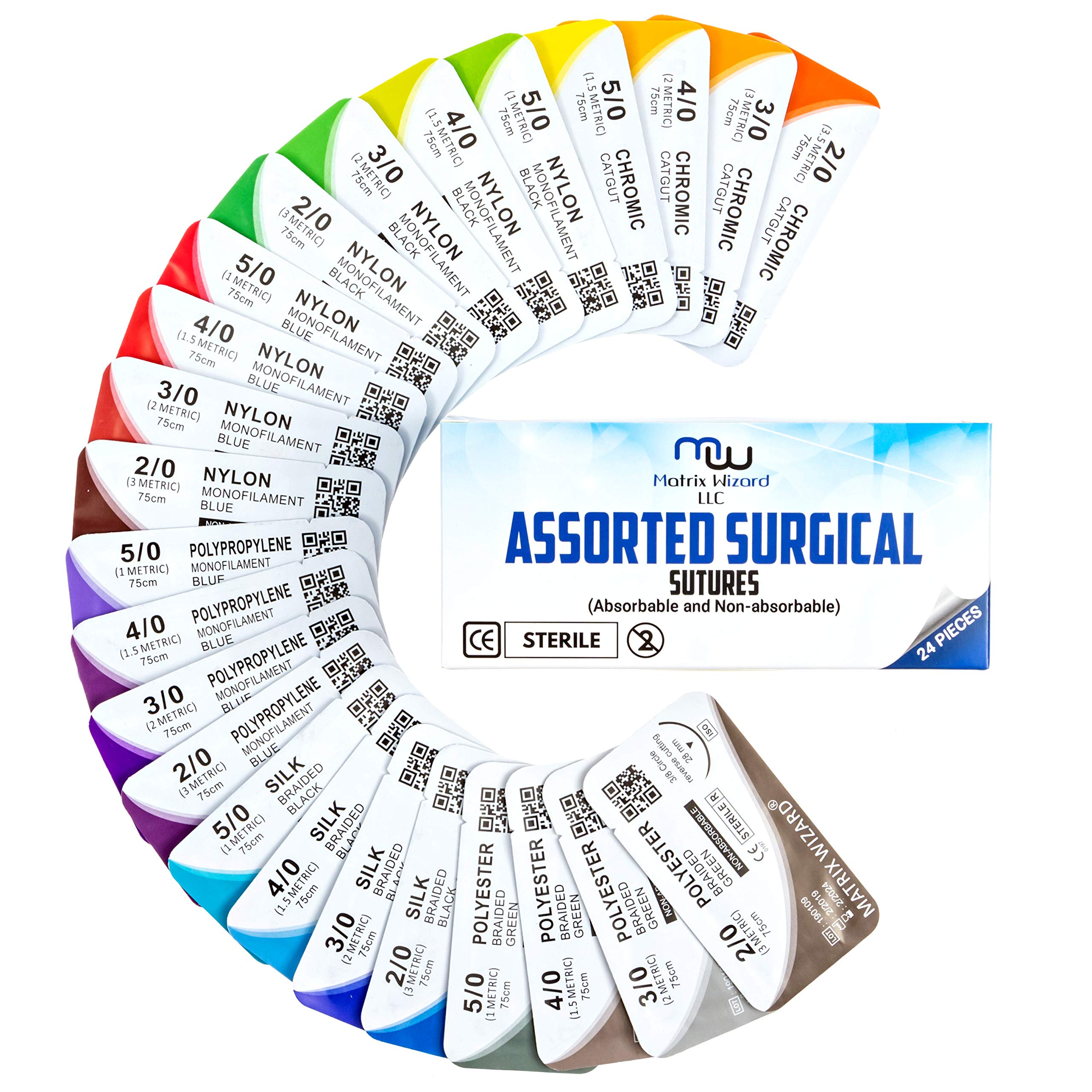 Mixed Sutures Thread with Needle (Absorbable: Chromic Catgut; Non-Absorbable: Nylon, Silk, Polyester, Polypropylene) - Surgical Wound Practice Kit, Emergency First Aid Demo (2-0, 3-0, 4-0, 5-0) 24Pk by Matrix Wizard (Image #9)
